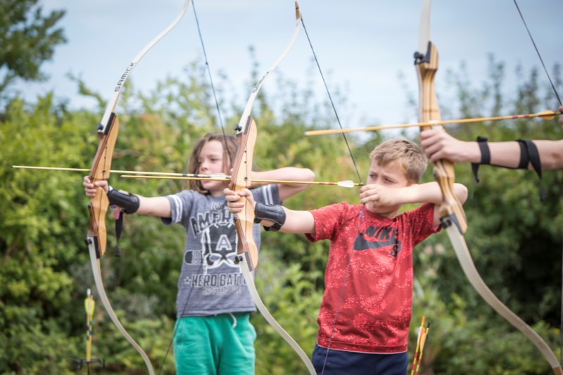 Kids enjoying archery at Betteshanger Park