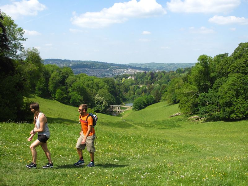 Walkers on grass - Bath car-free adventures