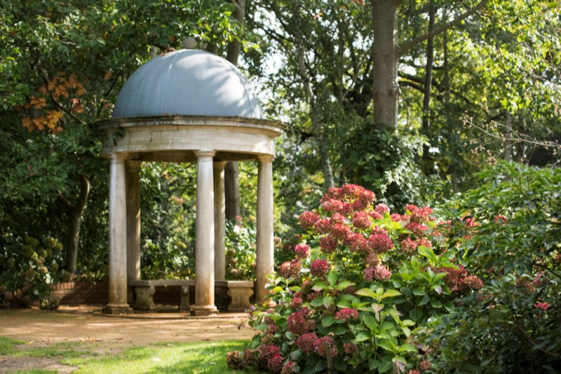 Temple in gardens at RHS Wisley