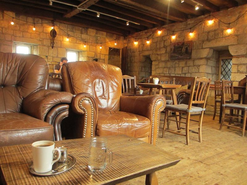 Leather chair in cafe - York car-free adventures