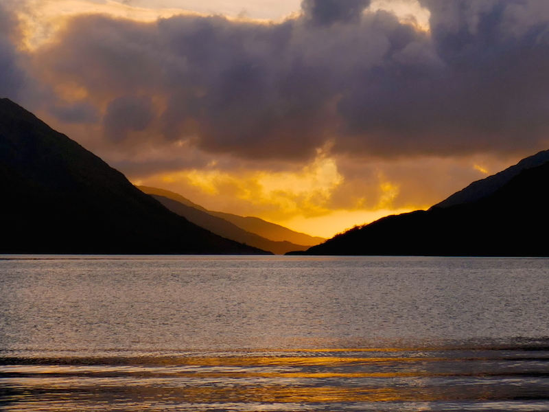 Sunset over lake - Fort William car-free adventures