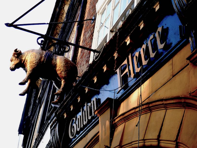 Golden Fleece pub sign - spotted on our car-free haunted journeys around the UK
