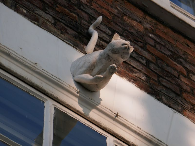 Ghost cat gargoyle - spotted on our car-free haunted journeys around the UK