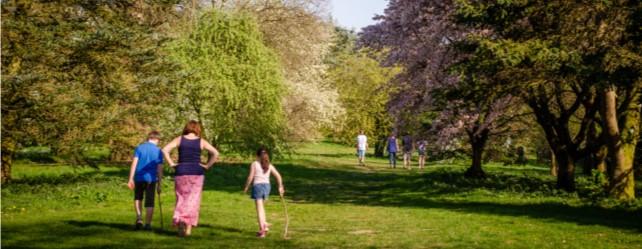 Family walking through The Yorkshire Arboretum