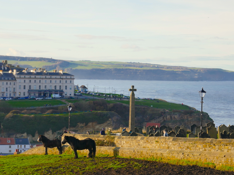 St. Mary's Whitby - view over the sea spotted on our Car-free trips to amazing UK churches