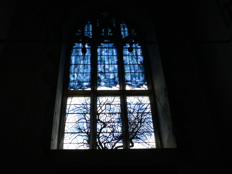 Stained glass window spotted on our Car-free trips to amazing UK churches
